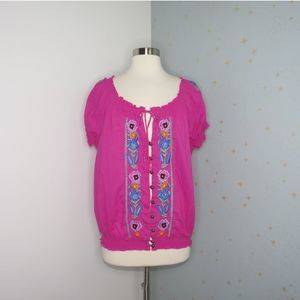 Boston Proper | Pink Embroidered Top